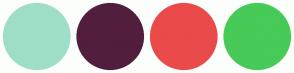 Color Scheme with #9EDEC7 #521E3E #EA4A4A #47CA57