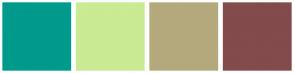 Color Scheme with #009A8C #CAEA93 #B4A97D #834B4B