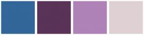 Color Scheme with #336699 #5A3358 #AF82B8 #DFD1D3