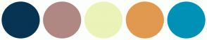 Color Scheme with #073453 #B08883 #EBF3B8 #E19950 #0091B7