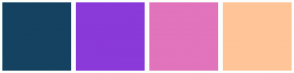 Color Scheme with #154261 #8A3AD9 #E174BC #FFC598