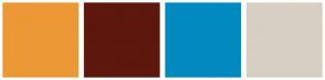 Color Scheme with #EC9837 #5D170D #028AC0 #D7CFC3