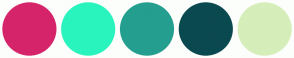 Color Scheme with #D6246B #29F4BE #249F8F #0A494F #D6EEBA
