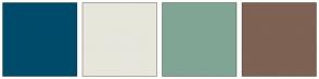 Color Scheme with #004B6B #E6E6DC #81A594 #7E6253