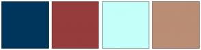 Color Scheme with #00365C #963C3C #C5FFFA #BA8D75