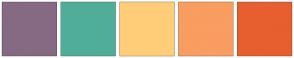 Color Scheme with #866A83 #4FAE99 #FFCD78 #F99D60 #E75F2E