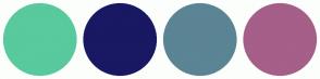 Color Scheme with #58CA9D #191863 #5B8494 #A55F88