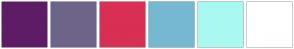 Color Scheme with #5E1C66 #6E6489 #D92F54 #76B8D2 #A9F9F2 #FFFFFF