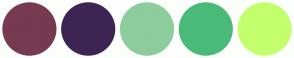 Color Scheme with #763B50 #3C2552 #8DCC9D #4ABA79 #C3FF6D
