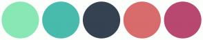 Color Scheme with #89E7B5 #48BBAC #344252 #D86C6C #B84870