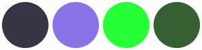 Color Scheme with #383545 #8973E7 #27FF37 #366033