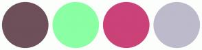 Color Scheme with #6D5059 #8BFFA3 #CA4278 #BDBACC