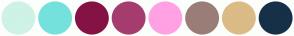 Color Scheme with #CEF2E6 #75E1DC #851245 #A53D6F #FFA1E3 #9A7D77 #DBBB86 #163047