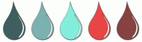Color Scheme with #3F5F5F #7AB2B0 #83EEDB #E84646 #874242