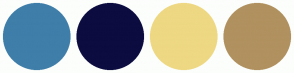 Color Scheme with #3F7EA9 #0C0C40 #EED883 #B0915F