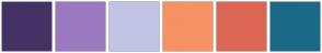 Color Scheme with #443266 #9B79C1 #C3C3E5 #F79265 #DD6755 #1A6A87