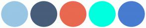 Color Scheme with #98C6E3 #475D7A #E86850 #00FFDE #487CD0