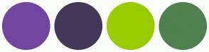Color Scheme with #72469F #44385A #99CC00 #4E814E