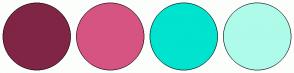 Color Scheme with #802545 #D65482 #00E3CF #AEFBEA