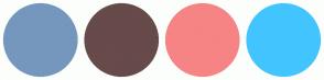 Color Scheme with #7597BD #674A4A #F68484 #42C5FF