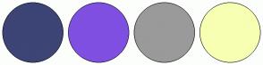 Color Scheme with #3D4476 #7F50E1 #9A9A9A #F7FFB3