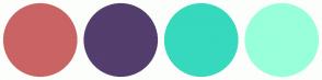 Color Scheme with #CA6464 #533E6D #36D9BD #98FFDB