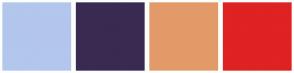 Color Scheme with #B3C6EC #392A52 #E39A69 #DF2222