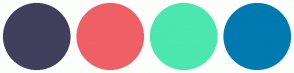 Color Scheme with #413F5C #EE6066 #4CE7B0 #007AB0