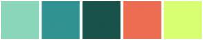 Color Scheme with #8AD6BB #319292 #19524B #EC6D52 #D8FF72