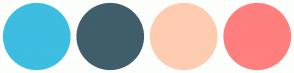 Color Scheme with #3CBDE1 #405E6B #FDCCB1 #FF7E7E