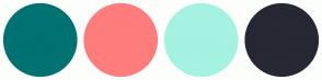Color Scheme with #007271 #FF7C7C #A5F2E1 #262834
