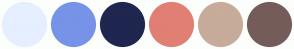 Color Scheme with #E5EFFF #7693E8 #1F264F #E17F74 #C7AB9B #745C5A