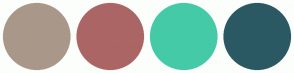 Color Scheme with #A9988A #AC6565 #45CAA7 #2B5963