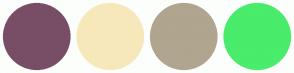 Color Scheme with #784E66 #F7E8BB #B0A58F #49EC6B