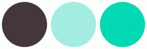 Color Scheme with #45363E #A4ECE2 #03D9B4