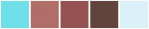 Color Scheme with #6FDFEA #B06E68 #965151 #61443C #DAF1F9