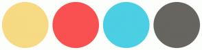 Color Scheme with #F7DA83 #F95151 #4BCFE3 #67655F