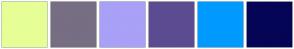 Color Scheme with #E5FF96 #776E83 #A9A0F7 #5C4B90 #009AFF #050456