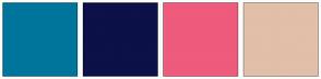 Color Scheme with #00759B #0C1147 #EE5B7C #E1BFA9