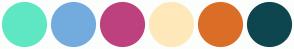 Color Scheme with #5FE7C3 #73ABDF #BD417E #FFE8BA #DB6E27 #0E464F