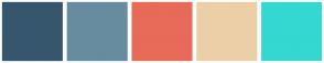 Color Scheme with #36566D #678C9F #E76B58 #ECCFA7 #34D8D0