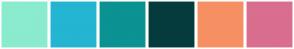 Color Scheme with #8AEBCE #24B5D2 #0B9292 #063B3E #F69063 #D96E8F
