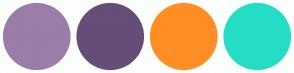 Color Scheme with #9B7DA9 #654E78 #FF8E24 #25DDC5