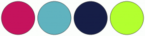 Color Scheme with #C5135D #60B3BF #161E47 #B3FF2F