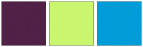 Color Scheme with #512147 #CAF66F #009DD9