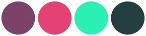 Color Scheme with #7C4268 #E34374 #2AF0B3 #253F40