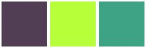 Color Scheme with #513E54 #B7FF3A #3EA384
