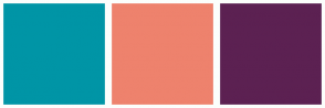 Color Scheme with #0095A6 #EE826D #5C2152