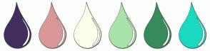 Color Scheme with #422E5E #D99898 #FCFFEA #AAE3A9 #378B5B #1BD9C0