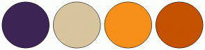 Color Scheme with #3D2555 #D7C59E #F68F18 #C55200